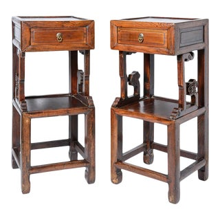 Hand Carved Hardwood 2 Tier Pedestal Stands With Drawer, Qing Dynasty, A-Pair For Sale