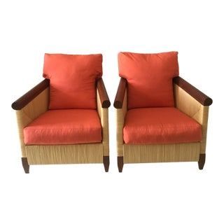 1990s Vintage Donghia Mahogany Reed Club Chairs- A Pair For Sale
