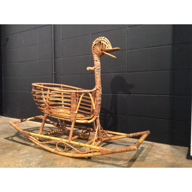 Vintage Bamboo & Wicker Rocking Duck Toy/Bassinet For Sale - Image 5 of 11