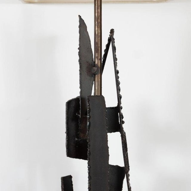 Black Mid-Century Brutalist Iron Mosaic Table Lamps by Harry Balmer for Laurel Company - a Pair For Sale - Image 8 of 9