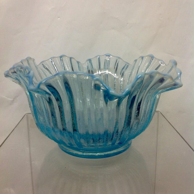 Vintage Blue Opalescent Art Glass Bowl - Image 4 of 5