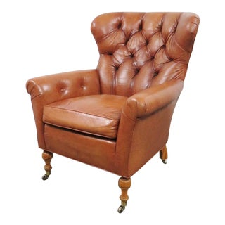 Hickory Chair Co. Leather Chesterfield Style Lounge Chair For Sale