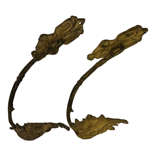 French Antique 19th Century Gilded Bronze Curtain Tie Backs or Hooks - a Pair For Sale