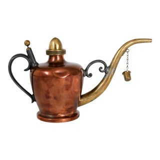 Small Copper and Brass Watering Can For Sale