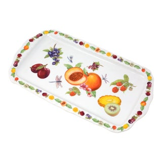 Ceramic Tray With Fruit and Dragonflies by Paul Cardew For Sale