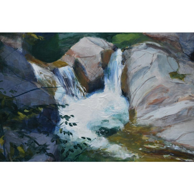 "Contemporary ""Vermont Waterfall, Warren Falls"" Contemporary Painting by Stephen Remick For Sale - Image 3 of 11"