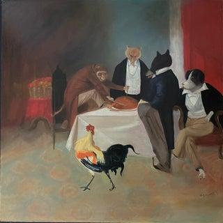 1990s Thanksgiving Scene Oil Painting For Sale