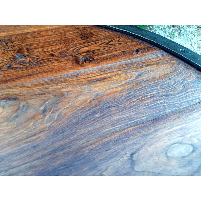 Industrial Farmhouse Round 2 Tier Reclaimed Chestnut Wood & Steel Coffee Table For Sale - Image 6 of 13