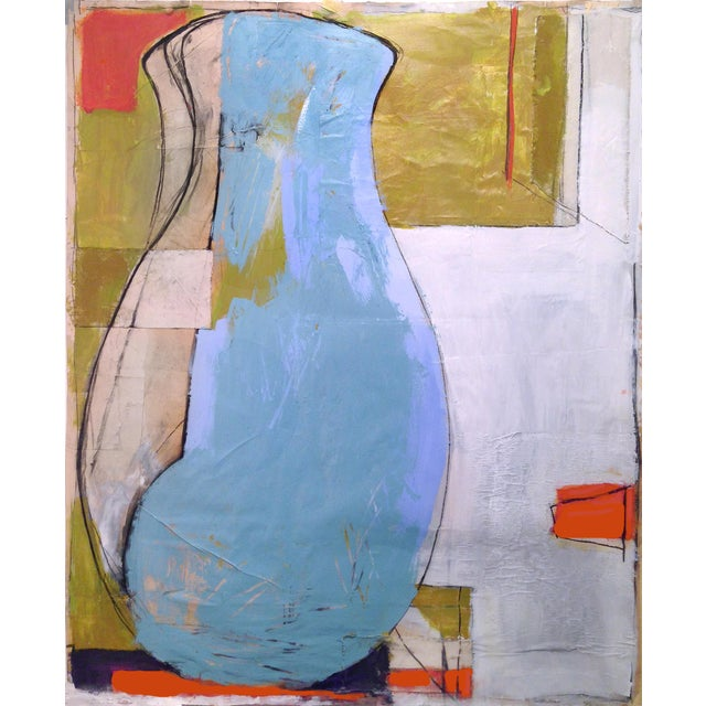 Large Blue Vase Painting - Mixed Media Collage For Sale - Image 4 of 6