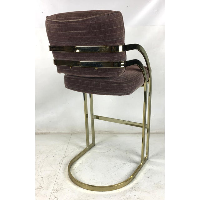 Mid-Century Modern Brass Cantilevered Bar Stools - Set of 4 For Sale - Image 3 of 7