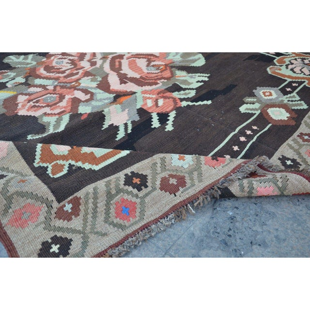 Vintage Floral Turkish Kilim Rug