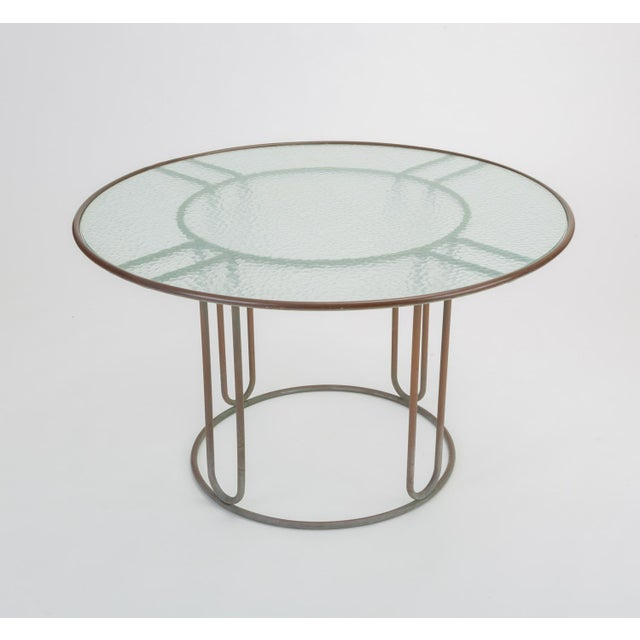 Round Patio Table With Oxidized Bronze Frame by Walter Lamb for Brown Jordan For Sale - Image 13 of 13