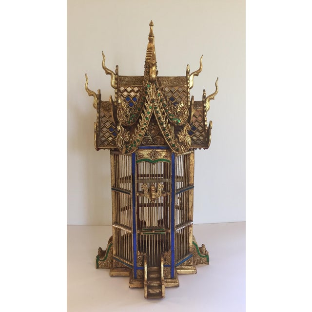 Great architectural miniature of an Asian Thai temple with extremely elaborate hand carved details. Amazing handwork, gilt...