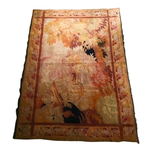 Antique Pastoral Scene Wool Tapestry For Sale