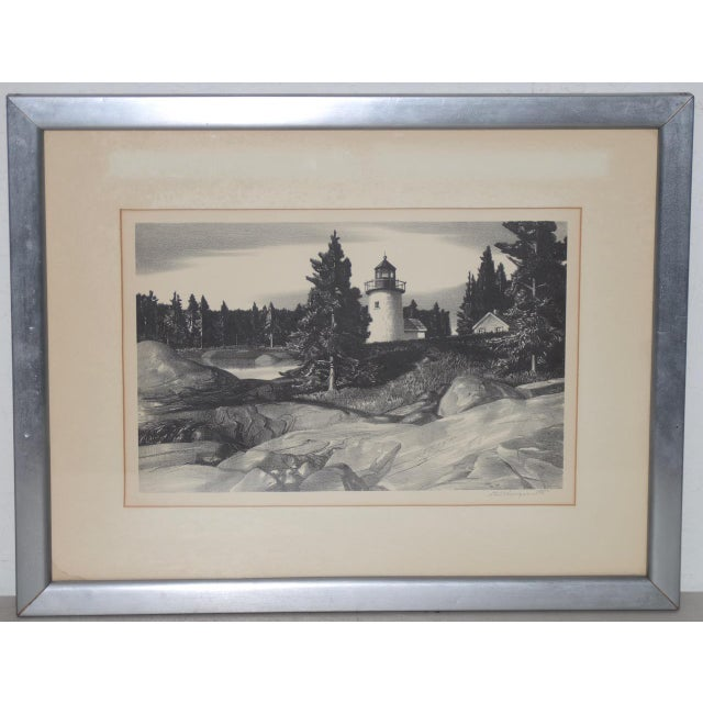 """White Stow Wengenroth """"Inlet Light"""" Limited Edition Pencil Signed Lithograph C.1937 For Sale - Image 8 of 8"""