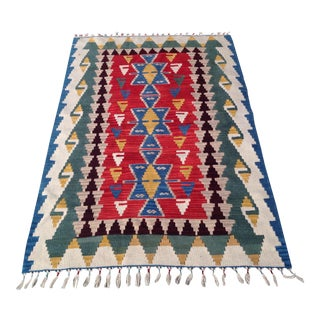"Small Anatolian Hand Woven Kilim Rug-3'7""x5'8""-Red Blue Medallion Rug-Turkish Rug-Flatwoven-Kitchen Bathroom Rug-Accent Rug-Tribal-Midcentury Modern For Sale"