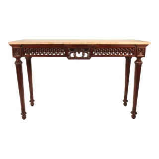 Regency Carved Mahogany Console With Marble Top
