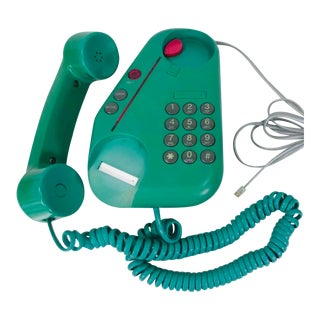 1980's Vintage Post Modern Memphis Design Abstract Teal Astra Phone For Sale