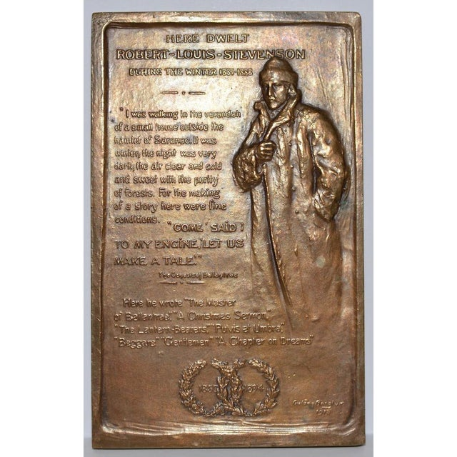Robert Louis Stevenson Bronze Medallion by Gutzon Borglum c.1915 For Sale - Image 4 of 4