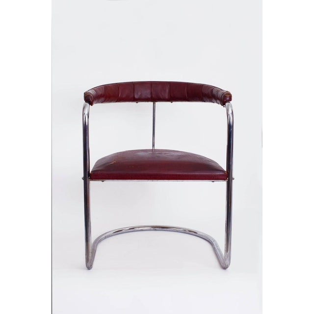 Mid-Century Modern 1930s Vintage Anton Lorenz for Thonet Cantilevered Steel Tube Ss33 Chair For Sale - Image 3 of 7