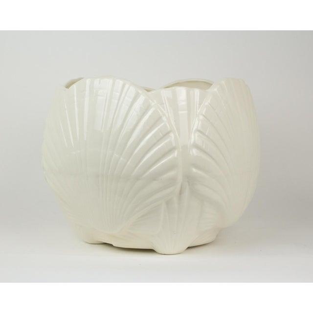 Large White Ceramic Sea Shell Planter Cache Pot For Sale - Image 10 of 10