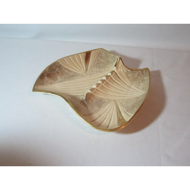 Mid Century Beige and Gold Ashtray - Image 5 of 7