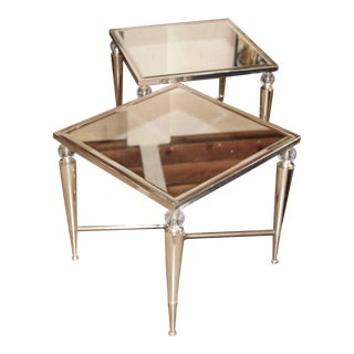 Mirror Top Silver and Glass Ball Tables- A Pair For Sale