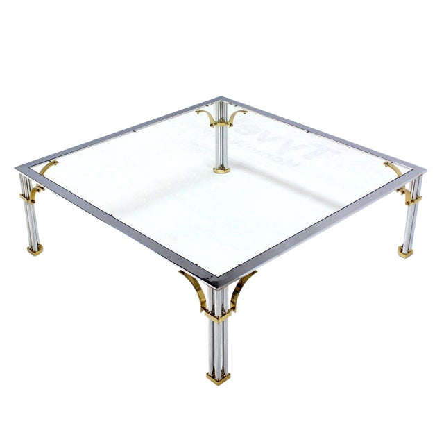 Large Square Mid-Century Modern Brass Chrome and Glass Coffee Table For Sale