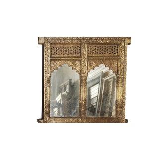 Antique Gothic Golden Arch Window Mirror For Sale