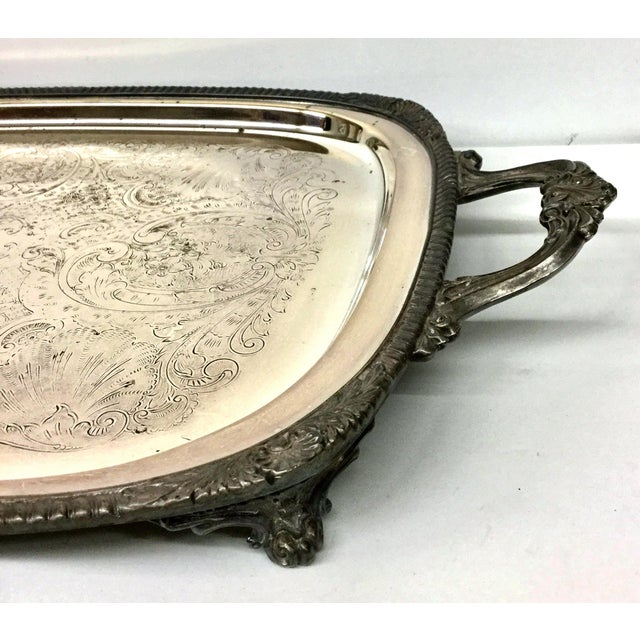Silver 1940s Art Deco F B Rogers Silver Plate Serving Tray For Sale - Image 8 of 12