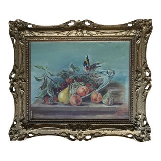 Antique Original Painting of Fruit and Bird For Sale