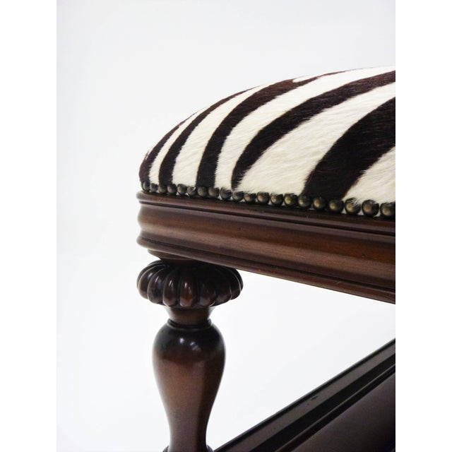 Mid 20th Century Vintage Zebra Hide Ottoman, Coffee or Cocktail Table For Sale - Image 5 of 8