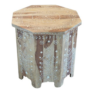 Bleached Moroccan Inspired Bone Inlay Side Table For Sale