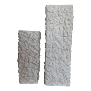 1960s Wunsiedel Textured White Bisque Vases - Set of 2 For Sale