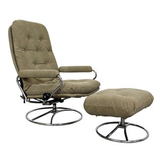 Mid-Century Modern Ekornes Stressless Chrome Lounge Chair & Ottoman For Sale