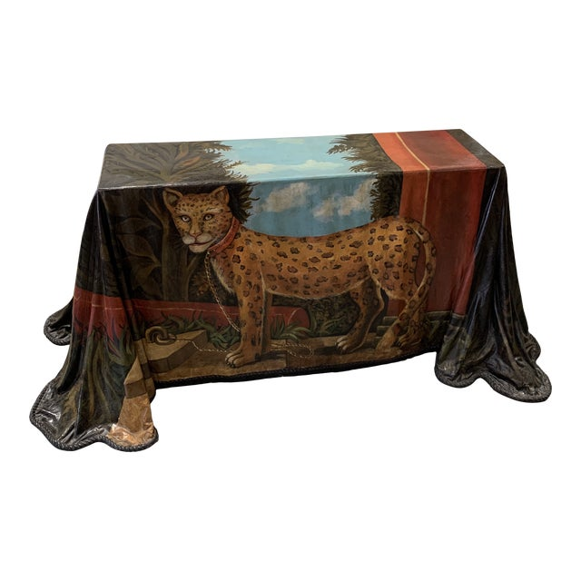 Trompe l'Oeil Fiberglass Draped Cheetah Skilling Style Painting Console Table For Sale