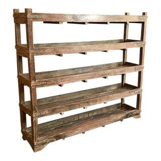 Rustic Stained Wood 5-Tiered Shelves For Sale