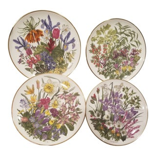 Four Floral Plates by Wedgwood For Sale