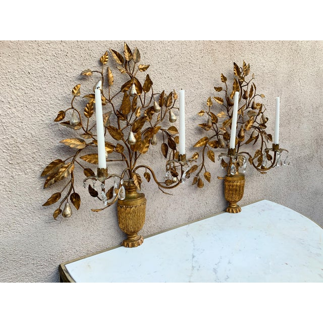 Hollywood Regency Giltwood Wall Sconces - a Pair For Sale In Los Angeles - Image 6 of 12
