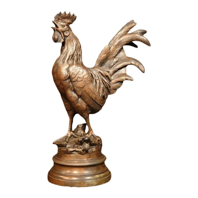 19th Century French Patinated Spelter Crowing Rooster Sculpture on Round Base For Sale