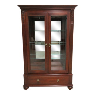 Ethan Allen British Classics Curio Display Breakfront China Cabinet