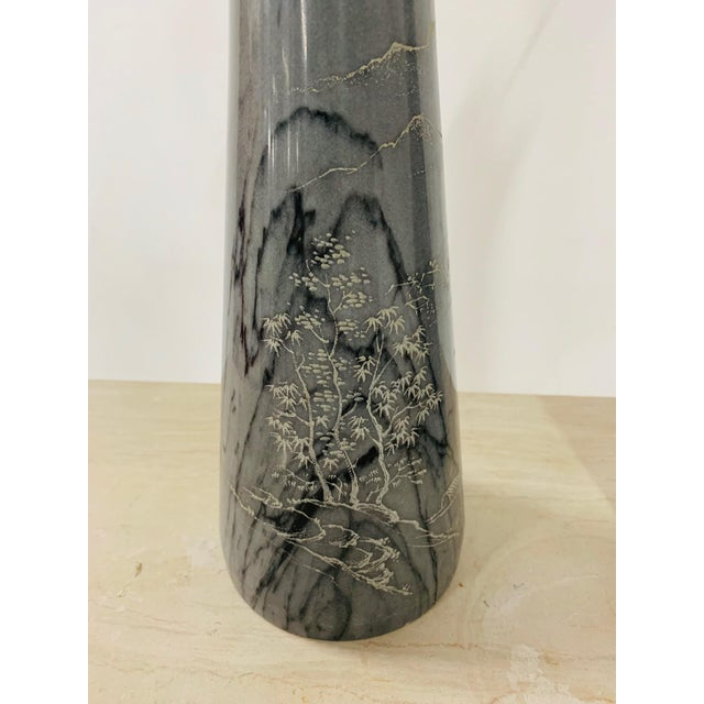 1960s Pair of Etched Asian Themed Marble Lamps For Sale - Image 5 of 8