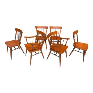 1960s Vintage Mid Century Solid Maple McCobb Style Dining Chairs - Set of 6 For Sale