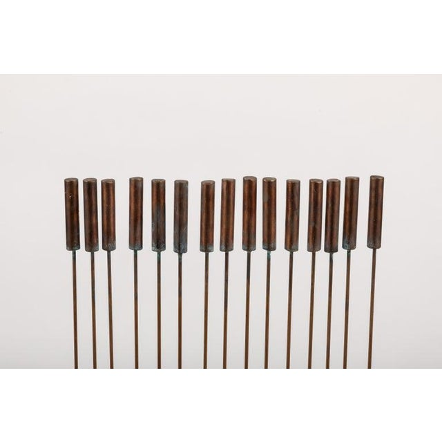 "Gold Large Val Bertoia 15-Rod ""Curve of Sounding Cat Tails"" Sculpture, 2016 For Sale - Image 8 of 13"