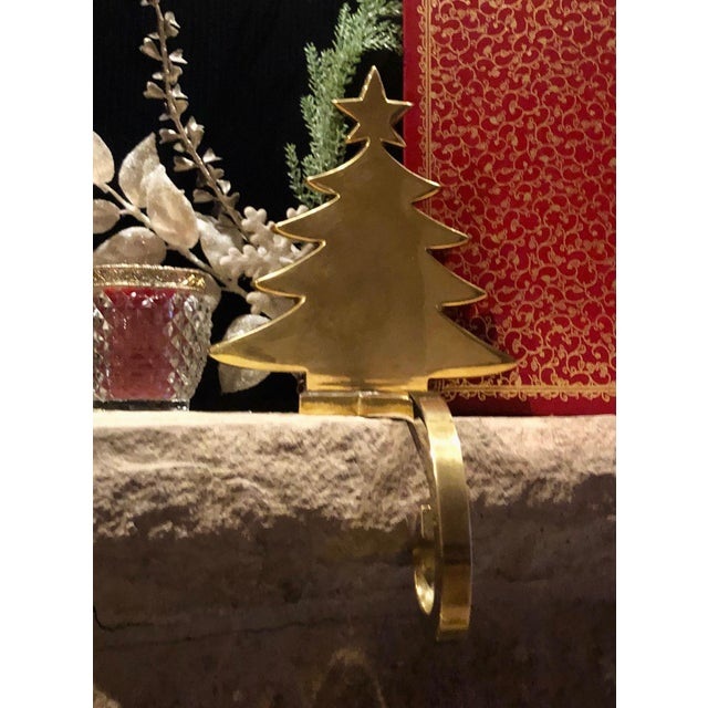 Late 20th Century Vintage Brass Stocking Hanger Christmas Hook Holiday Tree For Sale - Image 5 of 7