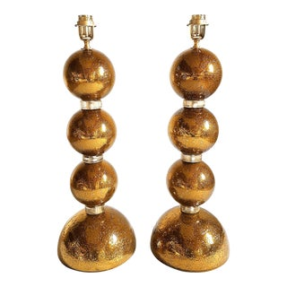 1970s Large Gold Murano Glass Table Lamps - a Pair For Sale