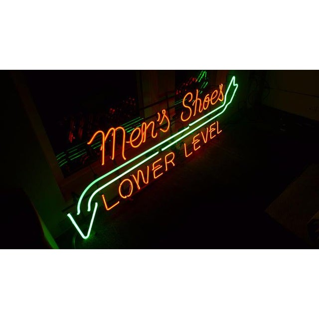 Neon Sign From Department Store, Men's Shoes, Lower Level, Circa 1930s. For Sale - Image 4 of 13