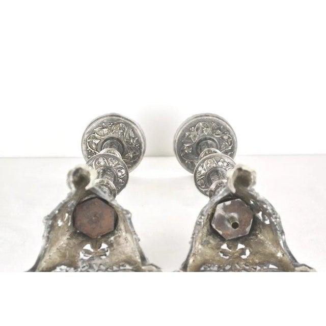 Silvered Alter Prickets - a Pair For Sale - Image 10 of 10