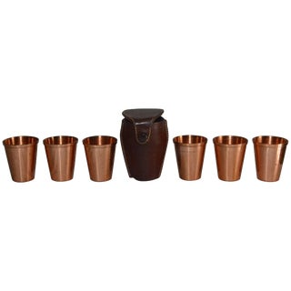 Copper Shot Glasses in Leather Travel Case For Sale
