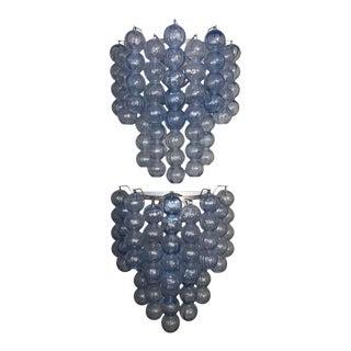 1960s Murano Soft Blue Bubble Sconces - a Pair For Sale